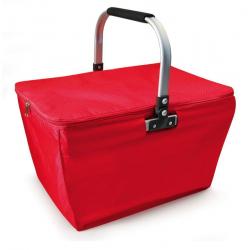 Kosz piknikowy zakupowy z izolacją, czerwony - IRIS