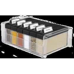 SPICE BOX - pojemnik na przyprawy, czarny - 6 przypraw GRATIS! EMSA