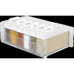 SPICE BOX - pojemnik na przyprawy, biały - 6 przypraw GRATIS! EMSA