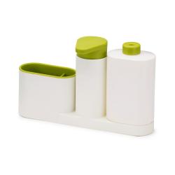 Zestaw 3 cz. do zlewu, biało-zielony, SinkBase - Joseph Joseph
