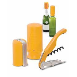 Zestaw akcesoriów do wina i szampana Wine&Champ - żółty - PULLTEX