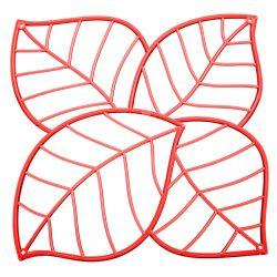 Panel dekoracyjny Leaf czerwony 4 szt. - Koziol