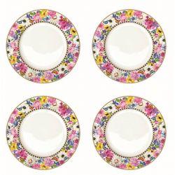 Zestaw 4 talerzy deserowych z porcelany 976GLUR - Nuova R2S