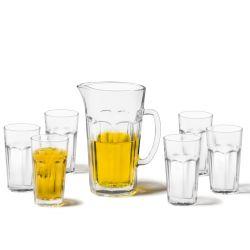 Zestaw dzbanek do soku + 6 wys. szklanek Rock - Leonardo