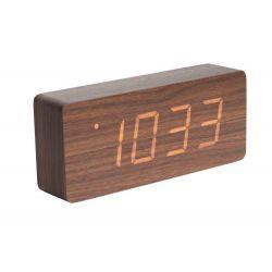 Zegar stołowy, budzik Tube Led, dark wood - KARLSSON