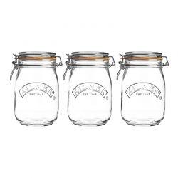 KIL- Zestaw 3 słoików 1l, Round Clip Top Jar