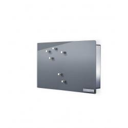 Magnetyczna skrzynka na klucze Velio, szare szkło, 20 x 30 cm, pozioma - BLOMUS