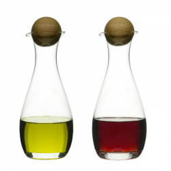 Oval Oak — zestaw dwóch buteleczek na oliwę i ocet, 0,3 l - SAGAFORM