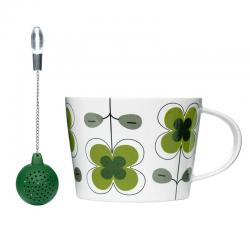 Tea — ziel. filiżanka z silikonową zaparzaczką, w puszce - SAGAFORM