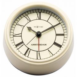Zegar z budzikiem Small Amsterdam, kremowy - NEXTIME