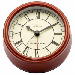 Zegar z budzikiem Small Amsterdam, czerwony - NEXTIME