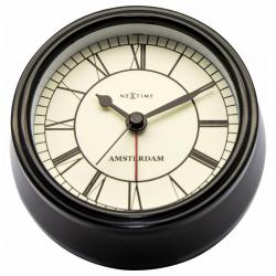 Zegar z budzikiem Small Amsterdam, czarny - NEXTIME