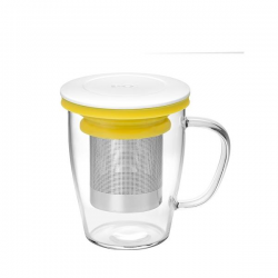 Szklanka z zaparzaczem MING biało-żółta - PO Selected