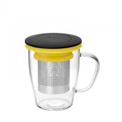 Szklanka z zaparzaczem MING czarno-żółty - PO Selected