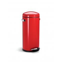 Kosz na śmieci 30L pedałowy RETRO - czerwony - Simplehuman