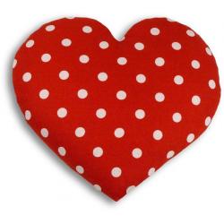Poduszka termiczna z wkładem z pszenicy Polka Red Dot, serce - LESCHI