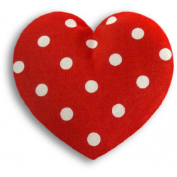 Poduszka termiczna z wkładem z pszenicy Polka Red Dot, serce małe - LESCHI