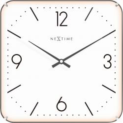 Zegar ścienny Basic Square Dome, 35 cm, biały - NEXTIME