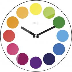Zegar ścienny Dots Dome, 35 cm, biały - NEXTIME