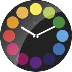 Zegar ścienny Dots Dome, 35 cm, czarny - NEXTIME