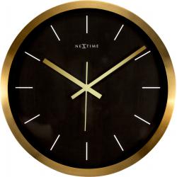 Zegar ścienny Stripe, 44 cm, czarno-złoty - NEXTIME