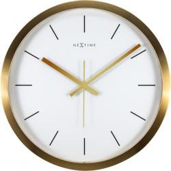 Zegar ścienny Stripe, 44 cm, biało-złoty - NEXTIME
