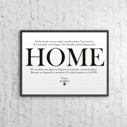 Plakat dekoracyjny 50x70 cm HOME biały - DekoSign