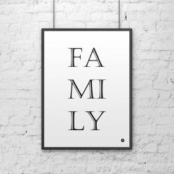 Plakat dekoracyjny 50x70 cm FAMILY biały - DekoSign
