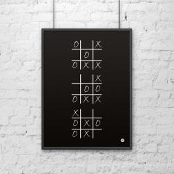 Plakat dekoracyjny 50x70 cm KÓŁKO I KRZYŻYK czarny - DekoSign