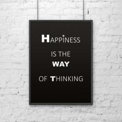Plakat dekoracyjny 50x70 cm HAPPINESS IS THE WAY OF THINKING czarny - DekoSign