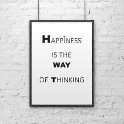Plakat dekoracyjny 50x70 cm HAPPINESS IS THE WAY OF THINKING biały - DekoSign