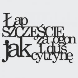 Napis na ścianę ŁAP SZCZĘŚCIE ZA OGON I DUŚ JAK CYTRYNĘ czarny - DekoSign