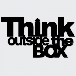 Napis na ścianę THINK OUTSIDE THE BOX czarny - DekoSign