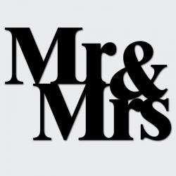 Napis na ścianę MR&MRS czarny - DekoSign