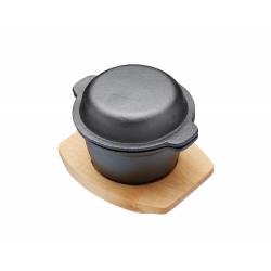 Naczynie żeliwne mini z pokrywką z deską 10 cm - Kitchen Craft